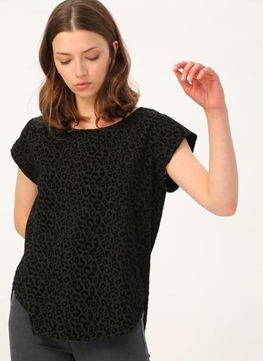 Only Only Leopar Desen Siyah T-Shirt Siyah